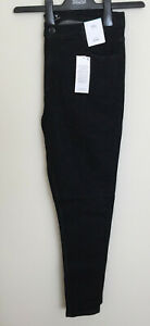 Ladies M&S Size 14 Long Mid Rise Skinny Black Jeans with Stretch Free Postage