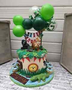 Balloon Cake Topper Confetti Garland Jungle Animal Party Safari Green Tropical