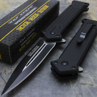 "8"" TAC FORCE SPRING ASSISTED FOLDING STILETTO TACTICAL KNIFE Blade Pocket  Open"