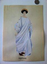 1924 Original Painting Early Roman Fashion Dress