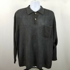 Johnnie Walker Men's Alpaca Tencel Charcoal Gray Polo Sweater L/S Size XL