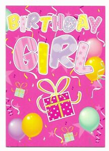 Happy Birthday Girl Pink Fun Greetings Card For Her/Kids/Friend by Cards For You