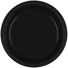 """20 Negro Plástico Grande Redondo De 9"""" placas de Boda Fiesta"""