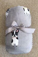 French Bull dog grey white Soft Throw pattern bed sofa blanket warm 150x 120cm