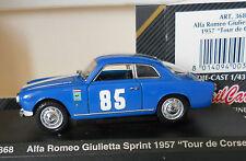 Alfa Romeo Giulietta Sprint Tour de Corse Blue Detail Cars 1/43 Art 368