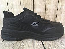 Men's SKECHERS WORK 77013 Black EH SLIP RESISTANT COMP TOE Shoes Sz 10    V27(5)