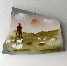 French slate picture Painting shepherd on stilts Tchangues Landes Gascony farm