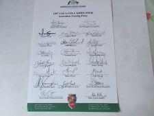 1997 Australia Cricket COCA COLA CENERE Tour Festa Pre Stampati AUTOGRAFO Foglio