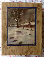 1940s Faux Wood Grain Empty Christmas Greeting Card Box Sheep Grazing in Snow