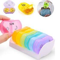 Pill Box AM PM 7 Day Medication Tablet Storage Case Organizer Dispenser Portable