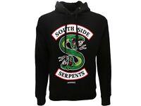 Felpa Riverdale Originale Serpents ufficiale cappuccio e tasca nera da XS a XXL