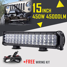 "15""INCH 450W CREE LED LIGHT BAR SPOT FLOOD WORK OFFORAD LAMP DRIVING FOG UTE 4WD"