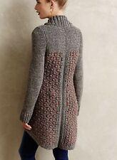 M Anthropologie Moth Gray Women's Honeycomb Long Wool Blend Cardigan Sweater