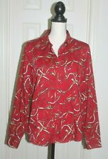 Talbots Equestrian Horse Stirrups Print Red Stretch Women's Top Blouse Size 14