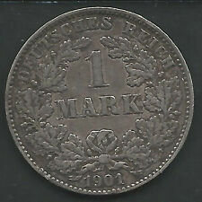 GERMANY, EMPIRE, 1901-G, 1 MARK, SILVER, KM#14, VERY FINE-EXTRA FINE