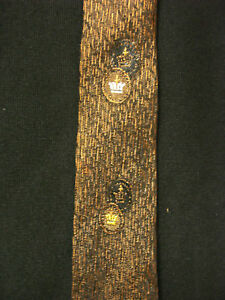VINTAGE 1950'S-1960'S SILK BROWN BLACK TIE WITH CROWNS
