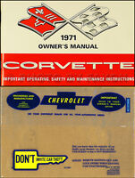 1971 Corvette Stingray Owners Manual Package with Envelope 71 Owner Guide Book