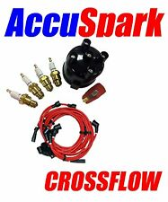 Ford Crossflow Accuspark Spark Plugs, Cap + Red Rotor Red leads For Motorcraft