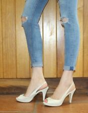 Steve Madden Sexy  High Heels 5 38 Cream Real Leather Peeptoe Slingback Evening