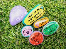 Hand Painted pebble art Cute inspirational message pebbles bright & colourful