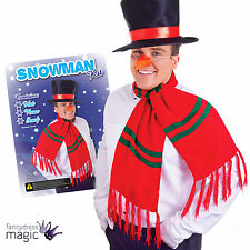 Mens Womens Snowman Top Hat Carrot Nose Scarf Christmas Fancy Dress Costume Kit