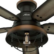 """52"""" Exposed Bulb Outdoor Damp Ceiling Fan Vintage Grey Pine Rustic Bronze Wire"""