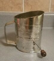 Vintage Bromwell's 3 cup Flour Sifter with Brown Handle.