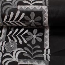 Kunstleder Cindy  Stickerei Bordüre, schwarz/grau