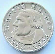 GERMAN Coin 5 REICHSMARK 1933 A Martin LUTHER Silver 3rd REICH WW2 Anniversary
