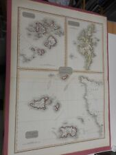 100% ORIGINAL LARGE REMOTE BRITISH ISLANDS SCILLY JERSEY MAP BY PINKERTON C1814