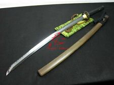 Clay tempered jp katana sword geometrical kissaki hualee wood sheath sharpened