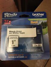 brother tapeTZe-251 black print on white tape new