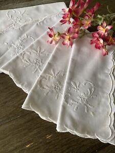 Vintage White Embroidered Appliqué Napkins Set of 5