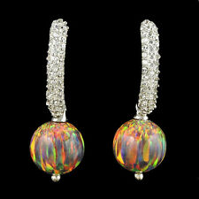 Alducchi Black Rainbow Lab Fire Opal - CZ . 925 Sterling Silver earrings #8