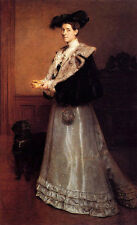 """Large Oil painting Edouard De Jans Portrait Of A Lady in room with pet dog 36"""""""