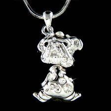 w Swarovski Crystal English French ~Bulldog~ American Dog Charm Pendant Necklace