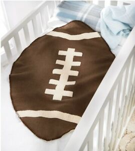 Mud Pie Baby Boys Large Sherpa Football Crib Blanket Brown One Size Super Soft