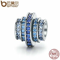Bamoer Authentic S925 Sterling Silver Charm Blue rhythm Fit Bracelets Jewelry q