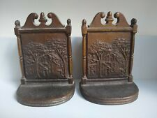 More details for pair bradley & hubbard cast bookends depicting house and trees