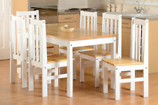 Seconique Ludlow Dining Set in Oak and White - 7 Piece - Country Farmhouse Style