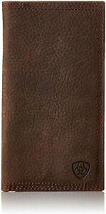Ariat Mens Rowdy Rodeo Triple-Stitch Leather Checkbook Cover Wallet (Brown)