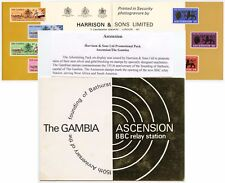 ASCENSION + GAMBIA 1966 HARRISON PROMOTIONAL PACK BBC RELAY SILVER + GOLD BLOCK