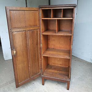 tall,oak,vintage,20thC,cupboard,cabinet,shelves,kitchen,storage,hall,bedroom