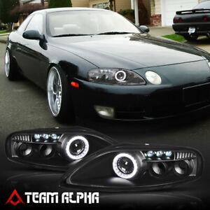 Fits 1992-2000 Lexus SC300/SC400 Z30{LED DRL/HALO}Black Projector Headlight Lamp