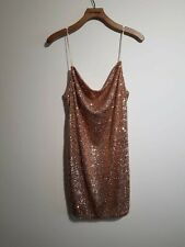 Rose Gold Cami Sequin Party Dress Size 12 Party Gatsby Christmas Birthday