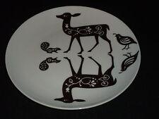 "Danica Studio Plate Salad Reindeer 8"" Deer Quail Squirrel Ceramic Brown Vtg"