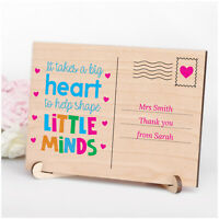 Personalised Gifts for Teacher Nursery Pre School Leaving Wooden Postcard Plaque