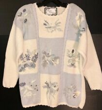 Private Collections By Carolina Colours Lg. Ladies Sweater White/ Soft Blue