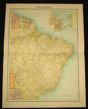 1898 Bartolomew Citizen's Atlas Antique RARE Map BRAZIL GUINA PARAGUAY BOLIVIA