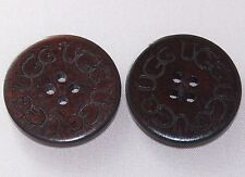SPECIAL Two (2) Wooden Buttons for UGG boots, 1' round, Brown Color